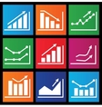 Icons with charts for design vector image