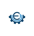 initial letter e industrial logo with gear icon vector image