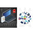 isometric sources of charging composition vector image vector image