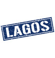 lagos blue square stamp vector image vector image