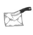 letter knife nailed sketch engraving vector image vector image