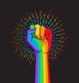 lgbt poster design rainbow fist raised up gay vector image vector image