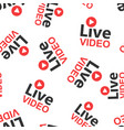 Live video icon seamless pattern background