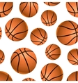 Many realistic basketball balls on white seamless vector image vector image