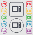 microwave icon sign symbol on the Round and square vector image vector image