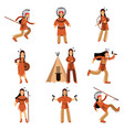 native american indians characters in traditional vector image vector image