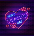 neon valentines day banner banner vector image vector image