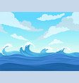 ocean surface wave seamless underwater cartoon vector image vector image