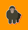 paper sticker on stylish background cartoon monkey vector image vector image
