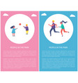 people park poster two kids play ball couple run vector image