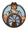 pirate ship logo jolly roger journey vector image