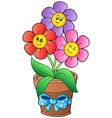 pot with three cartoon flowers vector image
