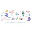 sealife cartoons set cute fish jellyfish star vector image
