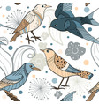seamless pattern with hand drawn birds vector image