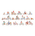 set man women and children riding bicycles of vector image vector image