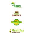 set vegan logo vector image vector image