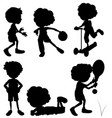 silhouette children doing different activities vector image vector image