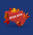 special offer geometric label with autumn leaves vector image