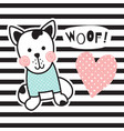 striped dog vector image vector image