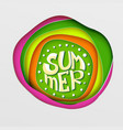 summer lettering on paper art vector image vector image