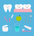 tooth health icon set toothpaste toothbrush vector image vector image