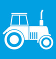 tractor icon white vector image vector image