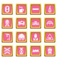 train railroad icons set pink square vector image vector image