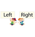 two boys holding sign left and right vector image vector image