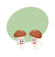 two mushroom characters one walking another vector image vector image