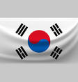 waving national flag of korea vector image vector image