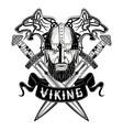 wolf viking sword skroll vector image