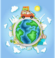 world car travel in paper art vector image