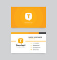 yellow speech bubble business card vector image vector image