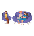 young women sitting on sofa avatar character vector image vector image