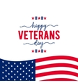 Happy Veterans Day with waving American flag vector image