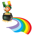 A man inside a pot of gold coins holding flag vector image vector image