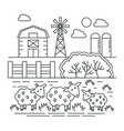 agriculture farm with sheeps thin line concept vector image vector image