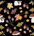 autumn mushroom nature seamless pattern ill vector image