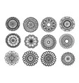 big set of hand drawn floral mandala isolated on w vector image