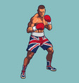 boxing fighter wearing uk flag shorts vector image vector image