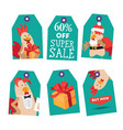 bright tags with cartoon rooster vector image vector image