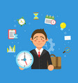 businessman and different symbols of productivity vector image vector image