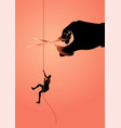 businesswoman climbing on rope meanwhile a giant vector image