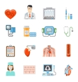 Cardiology Flat Icons Set vector image