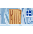 cartoon ice wall with door and window vector image vector image