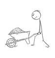 cartoon of man pushing wheelbarrow with soil mud vector image vector image