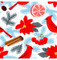 christmas background with poinsettia red flower vector image vector image