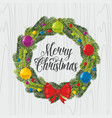 christmas wreath and christmas tree toys vector image