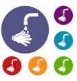 cleaning hands icons set vector image vector image