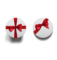 closed round boxes wiht bow set vector image